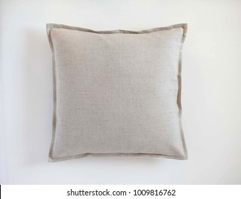 Linen flanged throw pillow isolated on white background