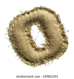Linen or hemp vintage cloth letter o isolated on white