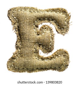Linen or hemp vintage cloth letter e isolated on white