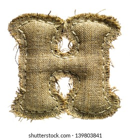 Linen or hemp vintage cloth letter h isolated on white