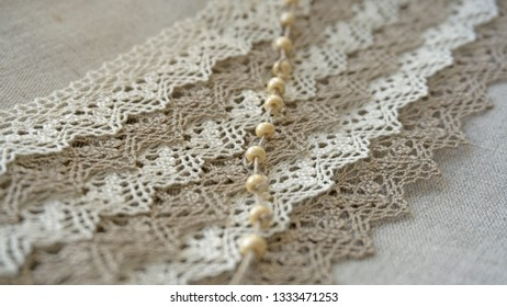Linen lace with beads