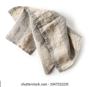 linen napkin isolated on white background, top view