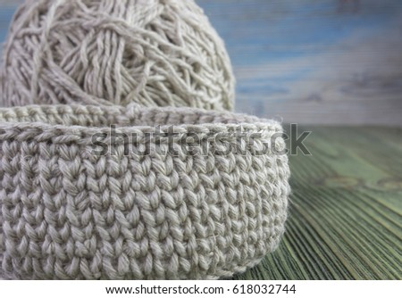 Linen Rustic Crochet Box Yarn Ball Stock Photo Edit Now 618032744
