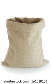Linen sack isolated on white background