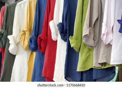 Linen shirt on display for sale different colors