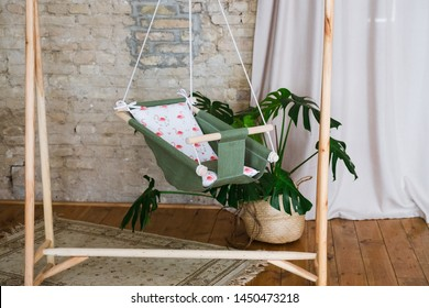 linen textile swing cradle for a newborn baby decor decoration toys for the children's room interior boho style scandinavian comfort