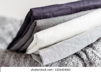 Linen textiles on the basket, monochrome.