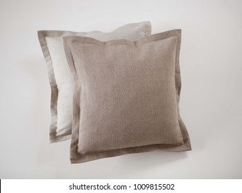 Linen throw pillows flanged isolated on white background