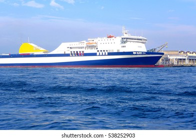 Liner, a boat passes over the sea. vessel navigation. cargo transportation.