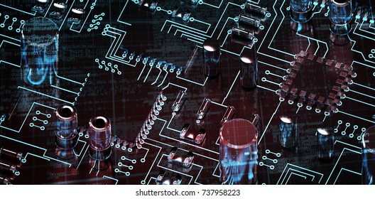 Lines of Blue matrix and codes against close up of circuit board