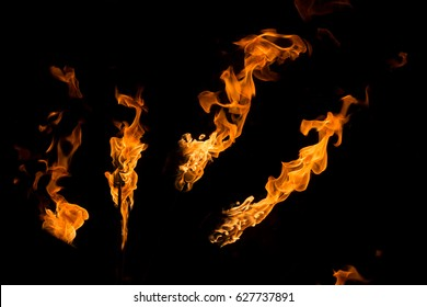 lines of fire isolated on black background