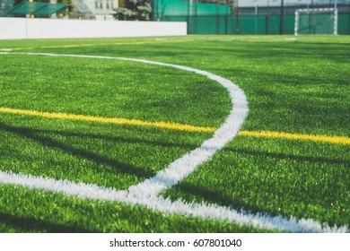 Lines of football field close up image