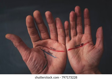 Lines on the palm of the two hands
