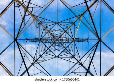The lines seen from under an electricity pylon