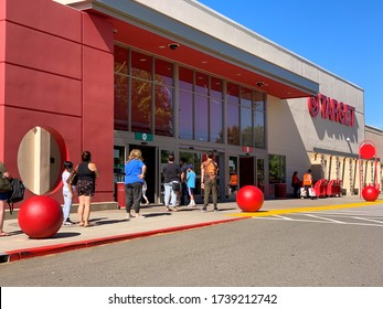 Lines at target as stores reopen in Placer county, California. May 23, 2020