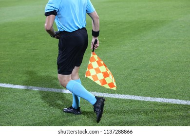 Linesman soccer referee with flags
