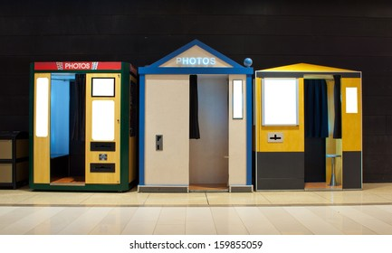 A lineup of photo booths