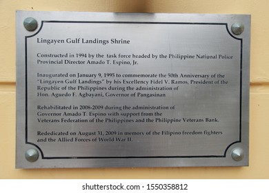 Lingayen Pangasinan, Philippines - November 2, 2019: A commemorative plaque at the Lingayen Gulf Landings Shrine dedicated to the events of the gulf landings during World War II.