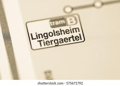 Lingolsheim Tiergaertel Station. Strasbourg Metro map.