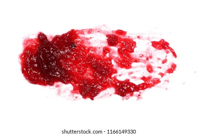 Lingonberry, cranberry jam, marmalade isolated on white background and texture, top view