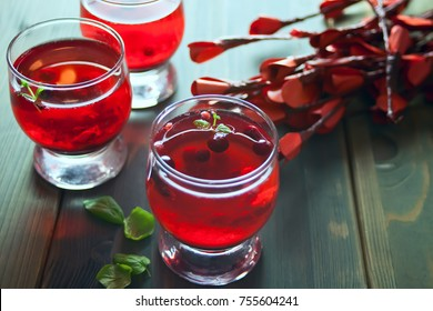 lingonberry drink on the wooden table