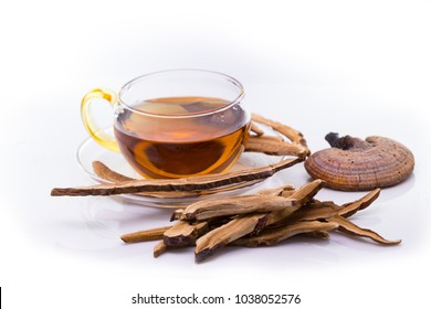 Lingzhi mushroom or reishi mushroom slice and tea,Herb plant for alternative medicine