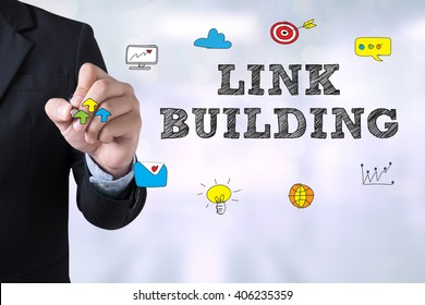 LINK BUILDING Businessman drawing Landing Page on blurred abstract background