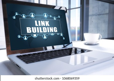 Link Building text on modern laptop screen in office environment. 3D render illustration business text concept.