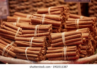 Linked beautiful dried cinnamon sticks many pieces
