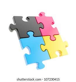Linked puzzle four cmyk colored jigsaw pieces isolated on white