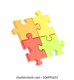 Linked puzzle four colorful jigsaw pieces isolated on white