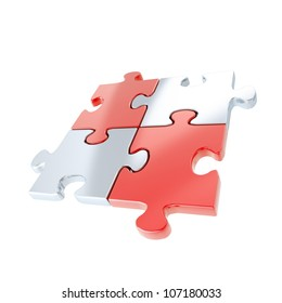 Linked puzzle four red and silver jigsaw pieces isolated on white