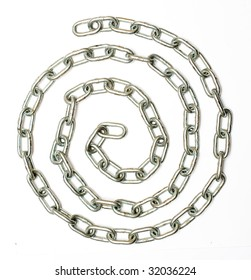 linked silver chain curve on white background