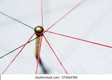Linking entities. Network, networking, social media, connectivity, internet communication abstract. Web of thin thread on white background.