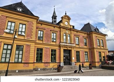 LINKOPING, SWEDEN - AUGUST 25, 2018: Central Station in Linkoping, Sweden. Linkoping is the 7th largest city in Sweden.