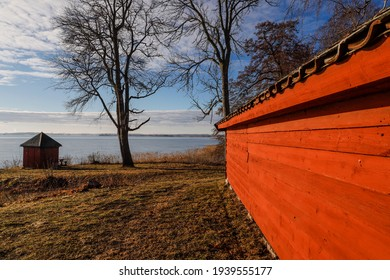 Linkoping, Sweden  A small barn next to the Berg Slussar or Berg locks on the Gota Canal. - Shutterstock ID 1939555177