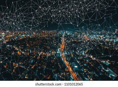 Links with aerial view of Tokyo, Japan at night
