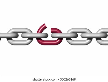 links in a chain metal gray on white background with weak link