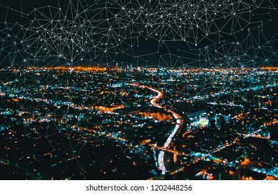 Links with Downtown Los Angeles at night