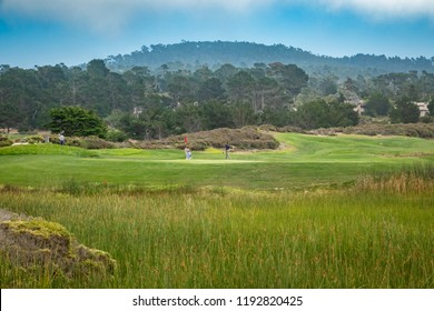 The Links at Spanish Bay golf course in Pebble Beach, Pacific central coast of California.