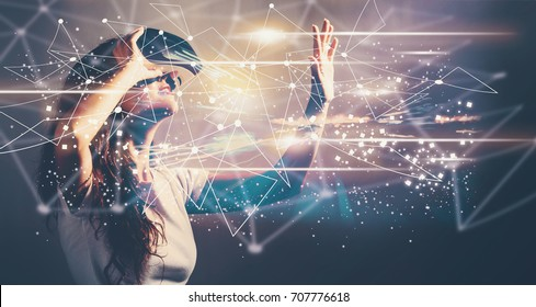 Links with young woman using a virtual reality headset