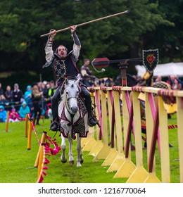 LINLITHGOW, SCOTLAND, JUL 3, 2016. Annual Medieval jousting tournament at Linlithgow palace, Scotland.