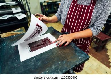 linocut. printing on the machine