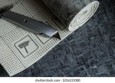 Linoleum pieces chopped into pieces