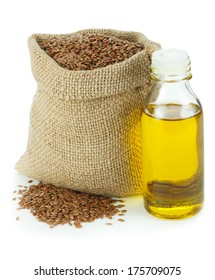 Linseed oil and flax seeds in small sack