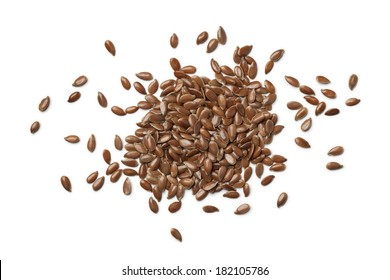 Linseeds on white background