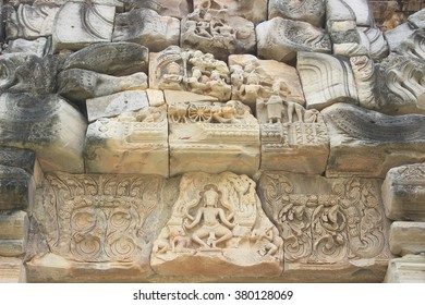 Lintel depicting ,Phimai Historical Park ,Nakhonratchasima ,Thailand. The ancient architecture , Buddhist Sculpture. One of the most important Mahayana Buddhist temple in Thailand. Khmer architecture.