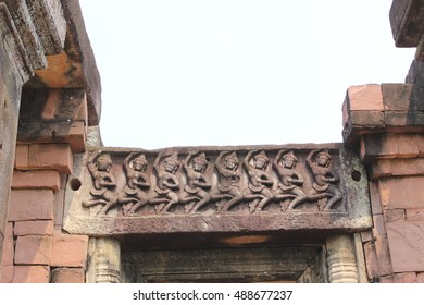 Lintel depicting ,Prasat Hin Phimai ,Phimai Historical Park ,Thailand. The ancient architecture , Buddhist sculpture. One of the biggest and most important religious sanctuary found in Thailand.