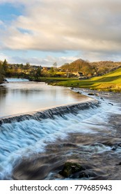 Linton Falls, weir on river Wharfe, Grassington, Yorkshire Dales