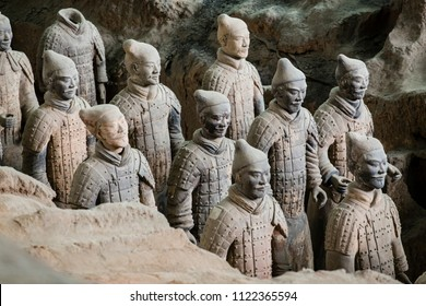 Lintong, Xi'an, China- October 15 2014: China's Terracotta Warriors. The Terracotta Army is the collection of sculptures depicting the armies of Qin Shi Huang, the first Emperor of China